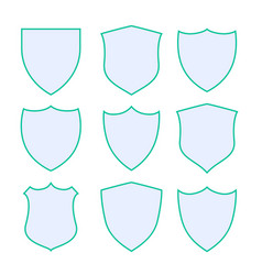 nine protection shield icons with green border vector image