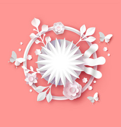 Papercut spring flower 3d paper craft template vector