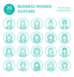 People line icons business woman avatars outline vector