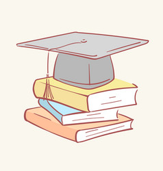 pile stack graduation academic cap books hand vector image