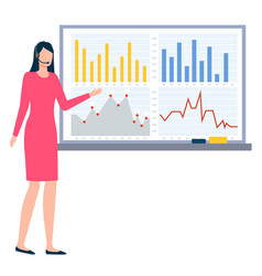 presentation on board businesswoman with report vector image