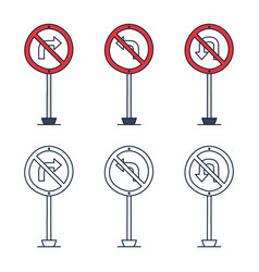 prohibition road sign set no left turn no right vector image