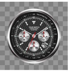 Realistic watch clock chronograph stainless vector
