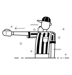 referee flat trendy blowing whistle and calling vector image