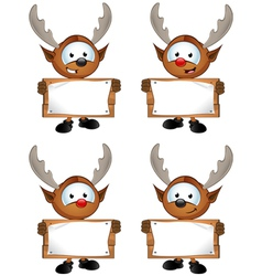 Reindeer Character Holding Wooden Sign vector image