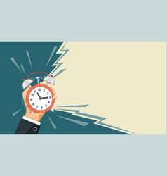 ringing alarm clock is in the hand of a man vector image