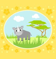 safari background card with rhino vector image