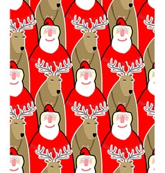 Santa Claus and reindeer seamless background vector image