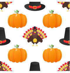 Seamless colorful thanksgiving pattern with turkey vector