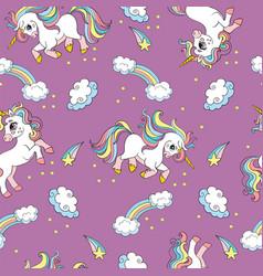 Seamless pattern cute unicorns in sky purple vector