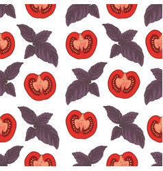 seamless pattern tomatoes and basil vector image