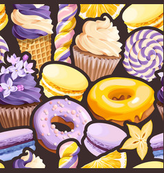 Seamless pattern with lilac and yellow sweets vector