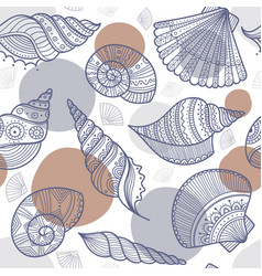seamless pattern with shells in ethnic boho style vector image