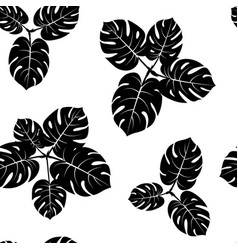 seamless tropical monstera palm beach leaves vector image