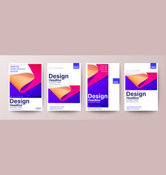 Set flyer poster leaflet annual report cover vector