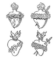 Set heart blessed virgin mary tattoo vector