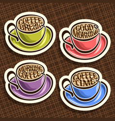 set of colorful coffee cups vector image