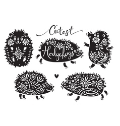 Set of cutest hedgehogs with flowers vector image