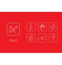 Set of Egypt simple icons vector