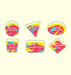 Set of flat geometrical vintage color vector