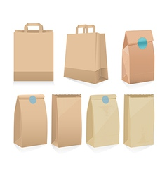 Set of seven recyclable brown paper bags vector