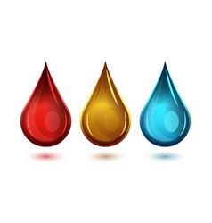 set realistic drops various liquids and vector image