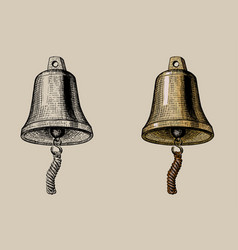 Ship bell hand ink drawing vector