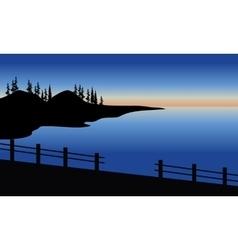 Silhouette of sea in the bridge vector image