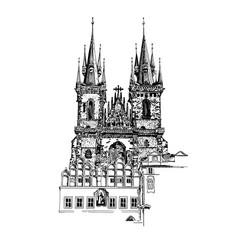 sketch drawing of church our lady before tyn in vector image