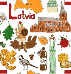 Sketch latvia seamless pattern vector