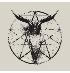 Skull of goat and pentagram vector