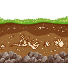 Soil layers with bones vector