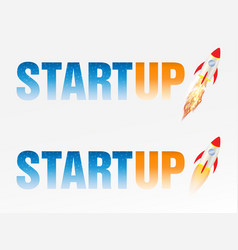 startup logo with rocket vector image