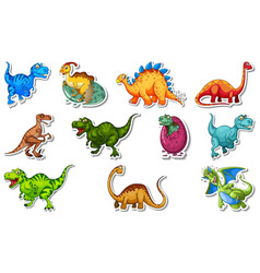 Sticker set with different types of dinosaurs vector