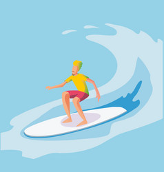 surfer riding wave flat vector image