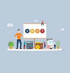 swot analysis business concept with team people vector image