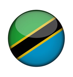Tanzania flag in glossy round button of icon vector