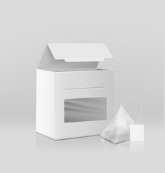tea leaves packaging mockup 3d realistic vector image