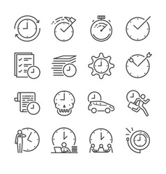 Time management line icon set vector