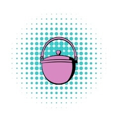 Traditional cooking cauldron icon comics style vector image
