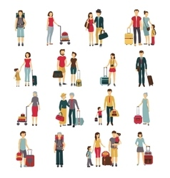 Travelers With Luggage Flat Icons Collection vector