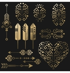 Tribal aztec gold stencil elements vector image