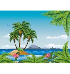 Tropical island in the ocean vector