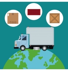Truck mini cargo service transport global vector