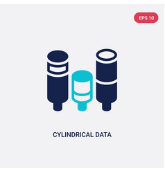 Two color cylindrical data graphic icon from vector