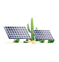 two solar panels and plants desert isolated on vector image