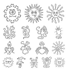 Types of funny microbes outline icons in set vector
