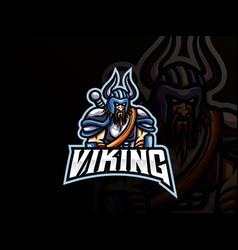 viking mascot sport logo design vector image