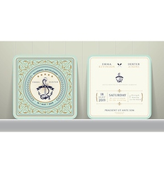 Vintage Nautical Anchors Wedding Invitation Card vector image