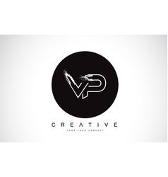 Vp modern leter logo design with black and white vector